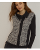 Oscalito 5636 jacket in Black and White in wool and silk  - Small